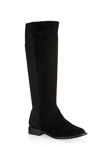 Tall Studded Sole Boots,BLACK SUEDE,large