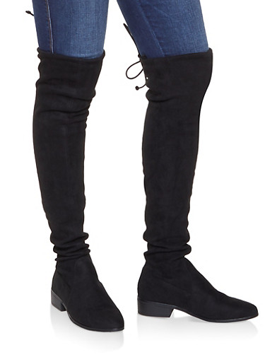 Over the Knee Pull On Boots,BLACK SUEDE,large