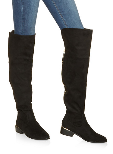 Zip Back Over the Knee Boots,BLACK SUEDE,large