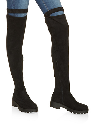Cut Out Over the Knee Boots,BLACK SUEDE,large