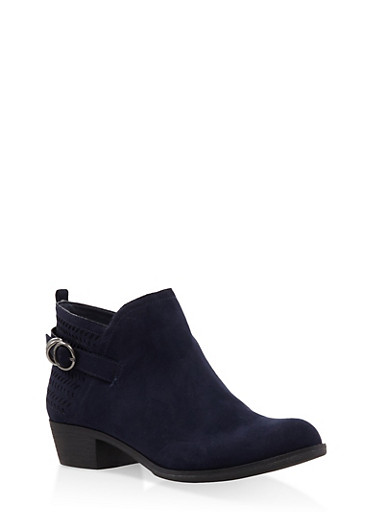 Perforated Ankle Booties,NAVY,large