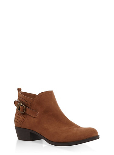 Perforated Ankle Booties,CHESTNUT,large