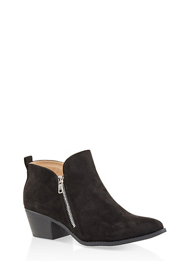 Pointed Toe Double Zip Ankle Booties,BLACK SUEDE,large