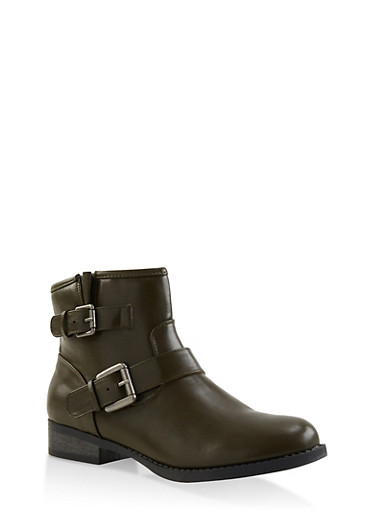 Double Buckle Booties,OLIVE,large