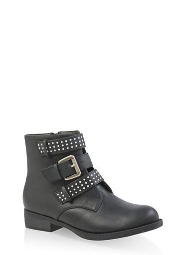 Studded Triple Strap Booties,BLACK,large
