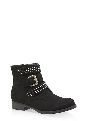 Studded Triple Strap Booties,BLACK SUEDE,large