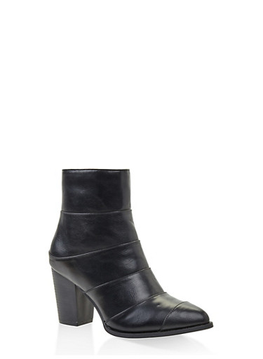 Mid Block Heel Booties,BLACK,large