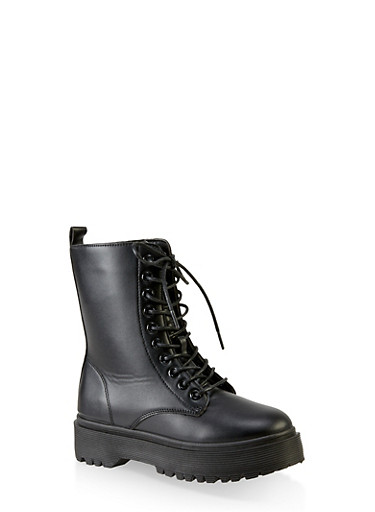 Lace Up Faux Leather Platform Booties,BLACK,large