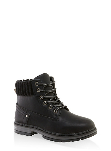 Ribbed Collar Work Boots,BLACK,large