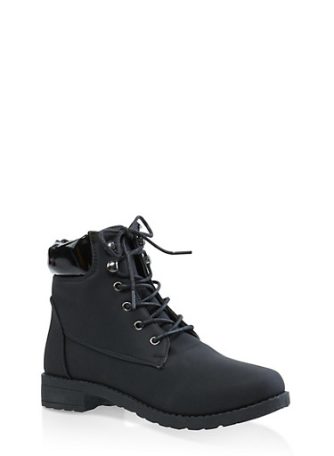 Faux Leather Trim Work Boots,BLACK,large