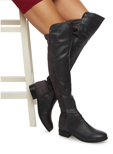 Over the Knee Boots in Faux Leather and Suede,GRAY,large