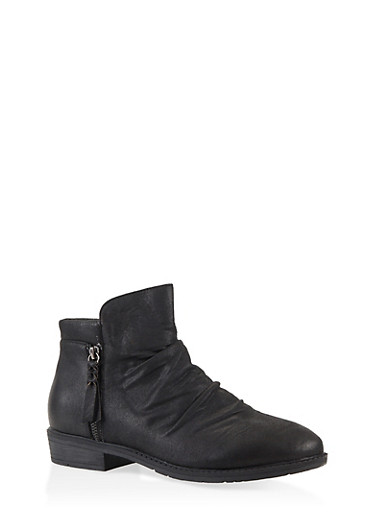 Side Zip Ruched Booties,BLACK,large