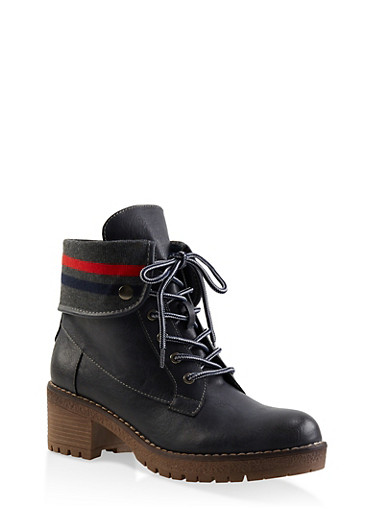 Rib Knit Trim Work Boots,NAVY,large