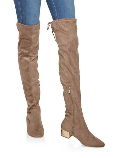 Glitter Heel Over the Knee Boots,KHAKI,large