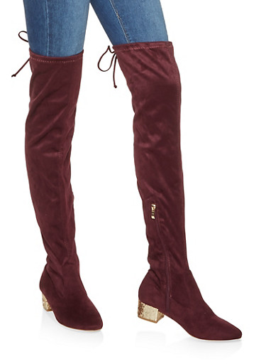 Glitter Heel Over the Knee Boots,WINE,large