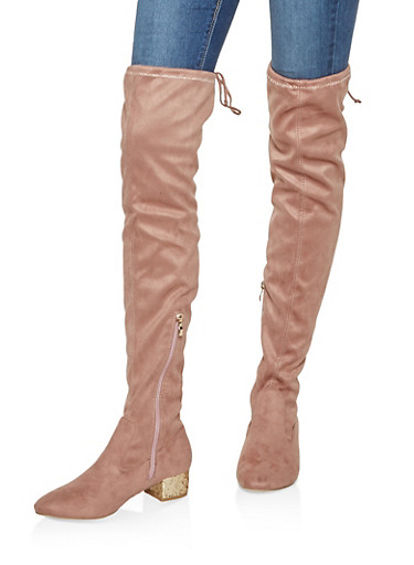 Glitter Heel Over the Knee Boots,NUDE,large