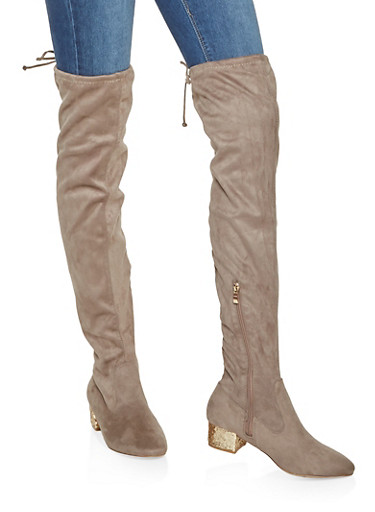 Glitter Heel Over the Knee Boots,TAUPE,large