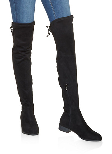 Tie Back Over the Knee Boots,BLACK,large