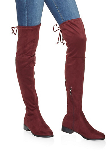 Tie Back Over the Knee Boots,WINE,large