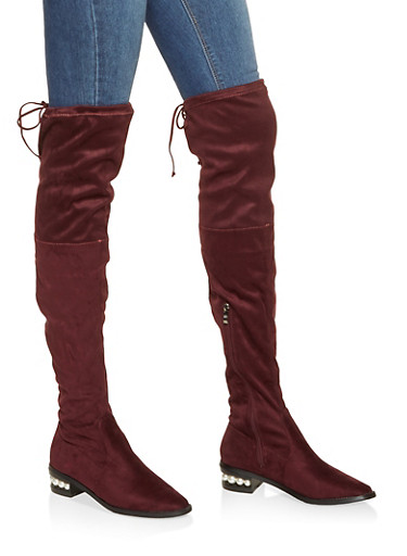 Over The Knee Faux Pearl Heel Boots,WINE,large