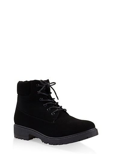 Lug Sole Lace Up Boots,BLACK,large