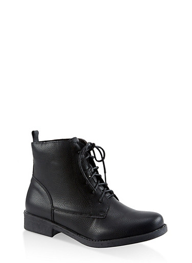 Lace Up Booties,BLACK,large
