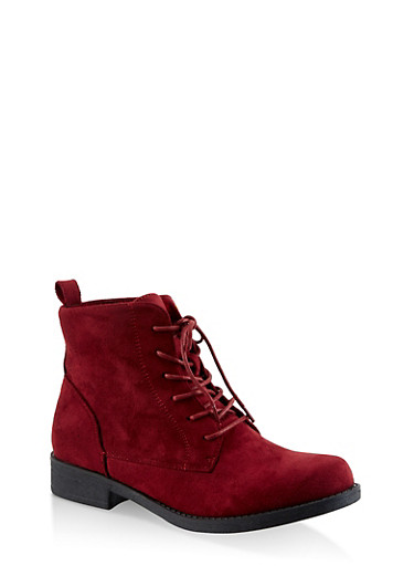 Lace Up Booties,WINE,large