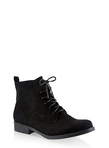 Lace Up Booties,BLACK SUEDE,large