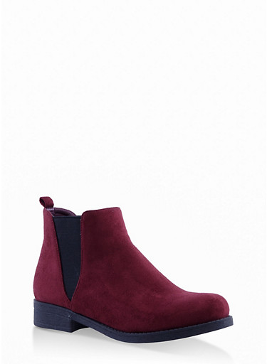 Faux Suede Chelsea Boots,WINE,large