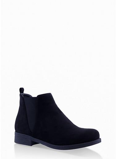 Faux Suede Chelsea Boots,BLACK SUEDE,large