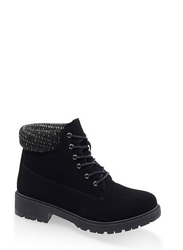 Lace Up Knit Cuff Work Boots,BLACK,large