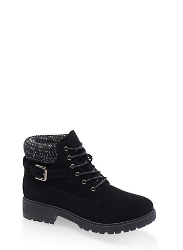 Buckle Detail Work Boots,BLACK,large