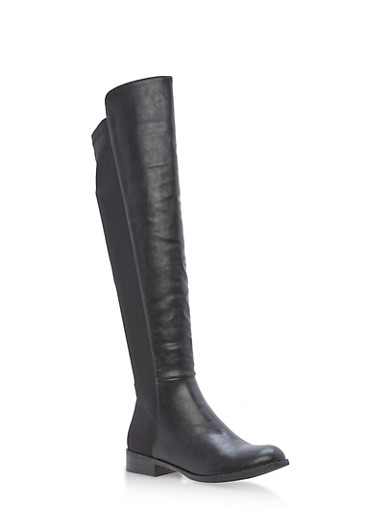 Stretch Back Tall Boots,BLACK PU,large