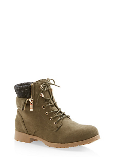 Lace Up Faux Suede Sweater Top Boots,OLIVE F/S,large