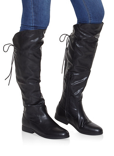 Over the Knee Lace Up Riding Boots,BLACK,large
