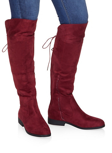 Over the Knee Lace Up Riding Boots,WINE,large