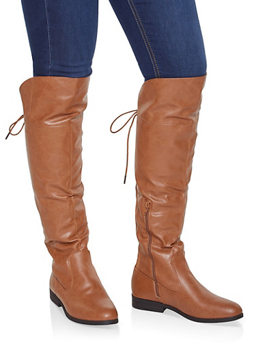 Over the Knee Lace Up Riding Boots,CHESTNUT,large