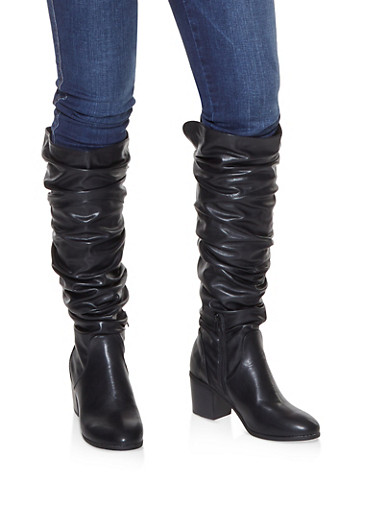 Faux Leather Ruched Boots,BLACK,large