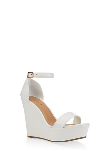Ankle Strap Wedge Sandals | 3117004062464,WHITE,large