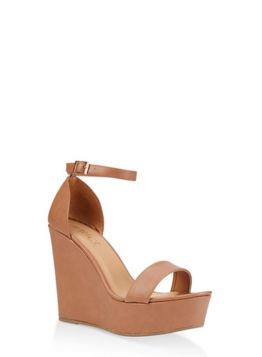 Ankle Strap Wedge Sandals | 3117004062464,TAN,large