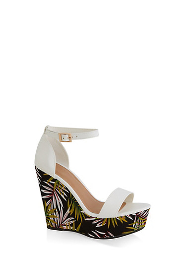 Leaf Print Wedge Sandals,WHITE,large