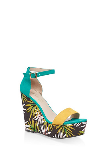 Leaf Print Wedge Sandals,GREEN,large