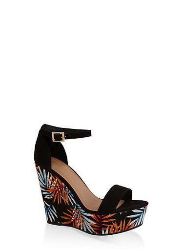 Leaf Print Wedge Sandals,BLACK SUEDE,large