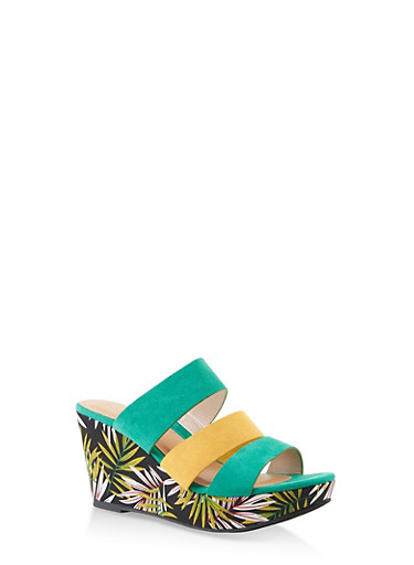 Triple Strap Wedge Sandals,GREEN,large