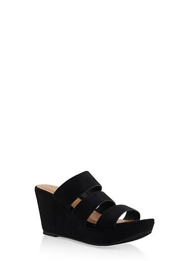 Triple Strap Wedge Sandals,BLACK SUEDE,large