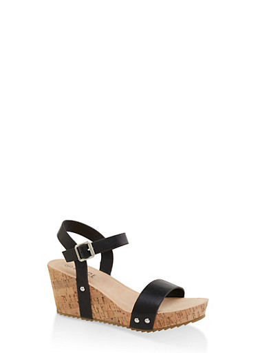 Single Band Cork Wedges,BLACK,large