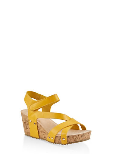 Criss Cross Asymmetrical Strap Cork Wedges,YELLOW,large