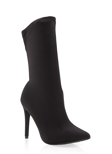 Stretch High Heel Booties,BLACK LYC,large
