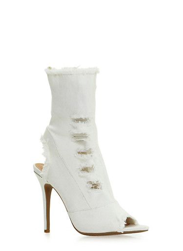 Distressed High Heel Peep Toe Booties,WHITE DENIM,large