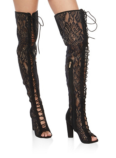 Lace Thigh High Heeled Boots,BLACK LACE,large